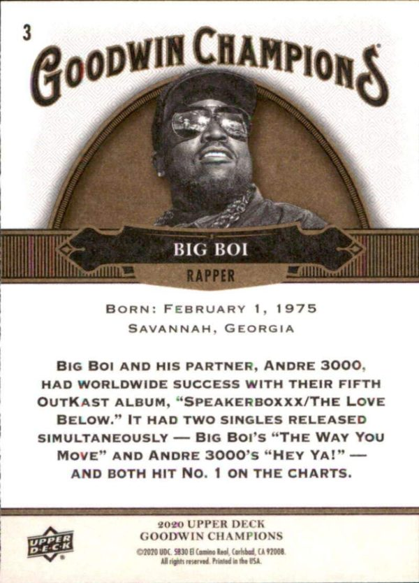 Big Boi Rapper Trading Card
